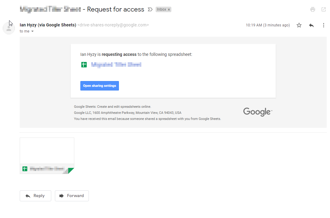 shows a google request for access email